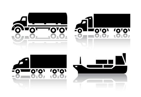 autobotte: Set di icone di trasporto - Trasporto merci Vettoriali