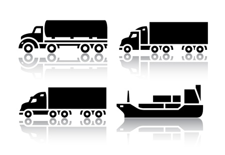 big truck: Set of transport icons - Freight transport