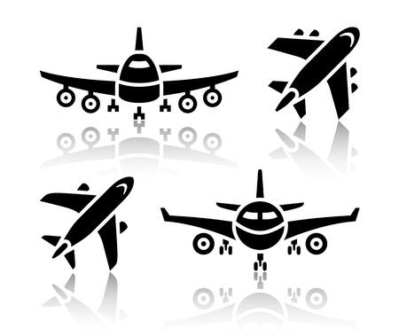 aerei: Set di icone di trasporto - aereo