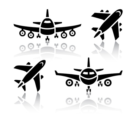 airplane cargo: Set of transport icons - Plane