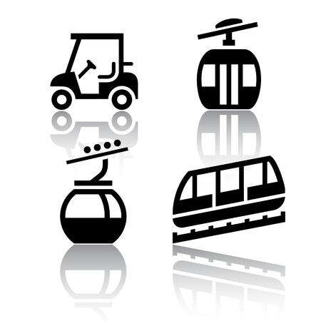 servicios publicos: Conjunto de iconos de transporte - Recreaci�n Vectores