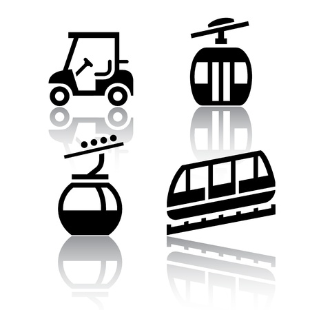 cableway: Set of transport icons - Recreation Illustration