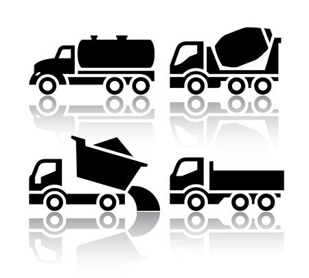 교통 아이콘의 세트 - 티퍼 및 콘크리트 믹서 트럭 일러스트