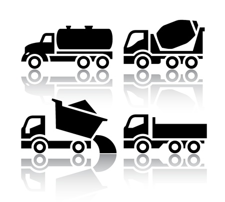 dump truck: Set of transport icons - Tipper and Concrete mixer truck