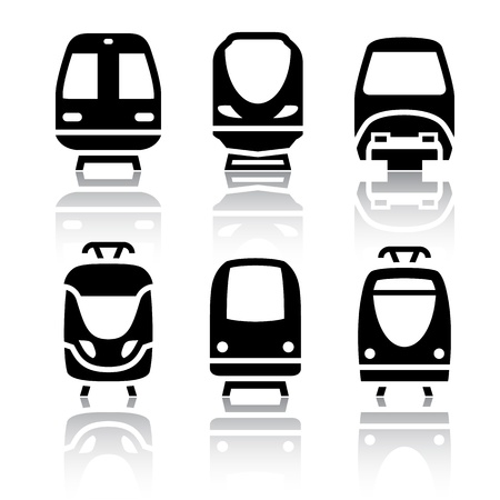 high speed railway: Set of transport icons - Train and Tram