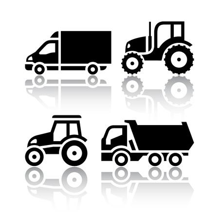 camion volquete: Conjunto de iconos de transporte - Tractores y camiones basculantes Vectores