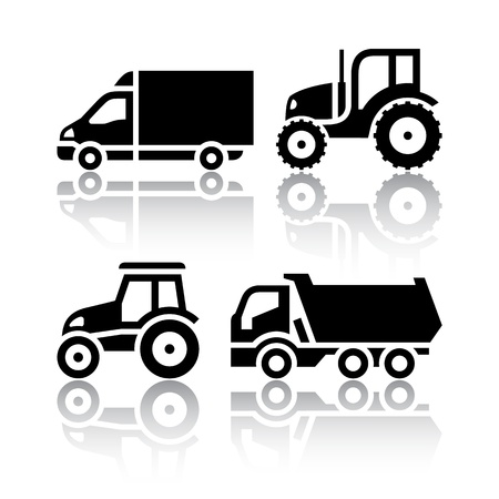 dump truck: Set of transport icons - Tractor and Tipper