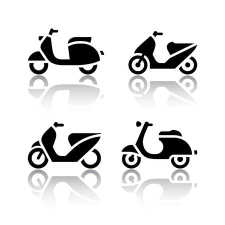 vespa piaggio: Set di icone di trasporto - scooter e motorini Vettoriali