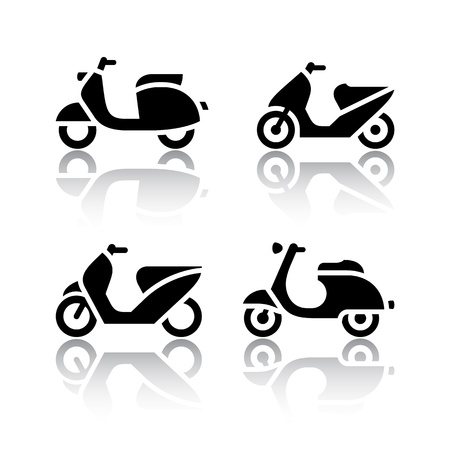 vespa: Set of transport icons - scooter and moped Illustration