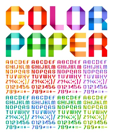 Spectral alphabet folded of paper ribbon colour Illustration
