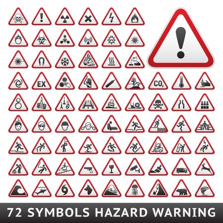 riesgo biologico: Peligro Triangular símbolos de advertencia gran conjunto rojo Vectores
