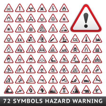 high voltage sign: Triangular Warning Hazard Symbols  Big red set