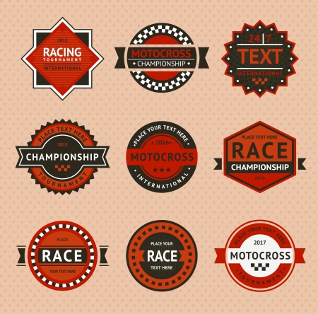 checkered label: Racing badges - vintage style