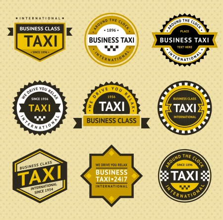 business class travel: Taxi insegne - stile vintage
