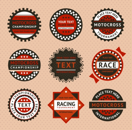 x games: Racing labels - vintage style