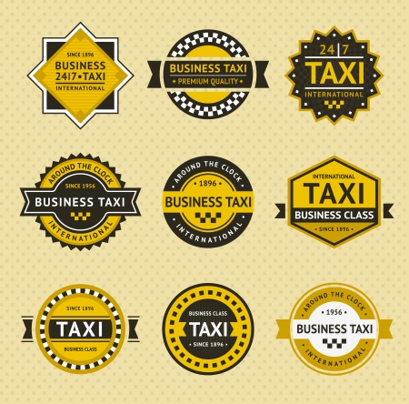 business class travel: Taxi  badges - vintage style