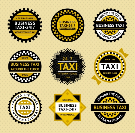 private service: Taxi labels - vintage style