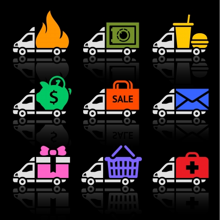 free shiping: Delivery truck colored icons on a black background