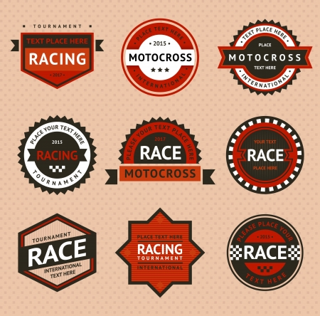 motocross riders: Racing badges, vintage style Illustration