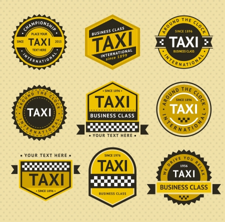 business class travel: Taxi insegne, stile vintage