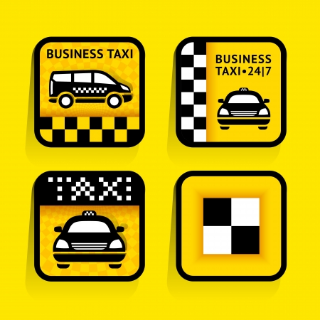 Taxi - set labels square on the yellow background Stock Vector - 18847766