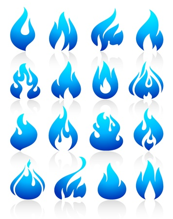 Fire flames blue, set icons Vector