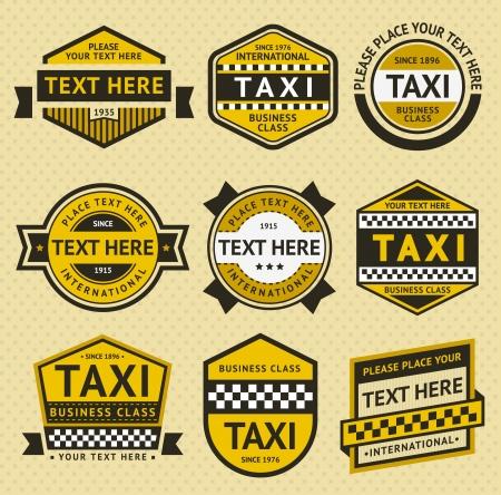 Taxi set insignia, vintage style 일러스트