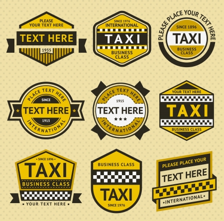 Taxi set insignia, vintage style Illustration