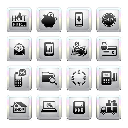 interface menu tool: Shopping grigio icone web 2 0 Icone Vettoriali