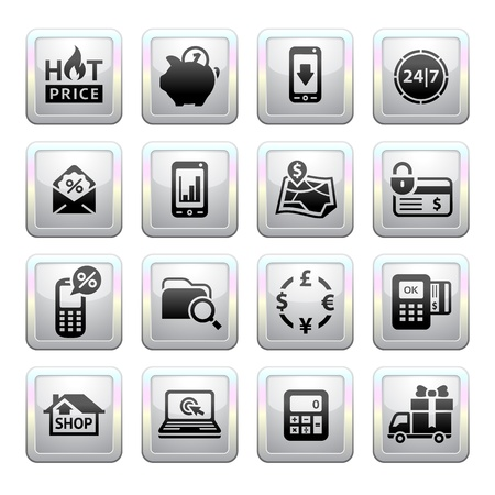 e store: Shopping Icons  Gray  Web 2 0 icons Illustration
