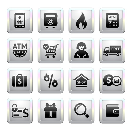 Shopping Icons  square gray  Web 2 0 icons Vector