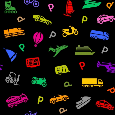 Seamless background, transport colored icons Vector