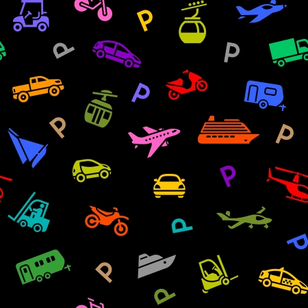 Seamless backdrop, transport colored icons Vector