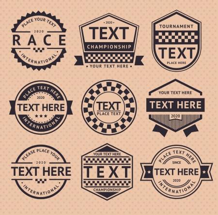 motor racing: Racing insignia, estilo vintage Vectores