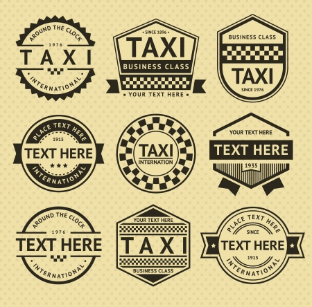 private service: Taxi labels, vintage style