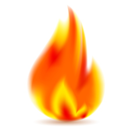 Fire, bright flame on white background Illustration