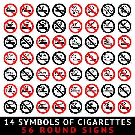 13 symbols of cigarettes, 52 round signs Vector