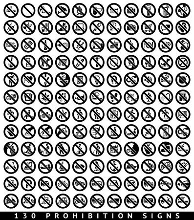 130 Prohibition black signs Vector