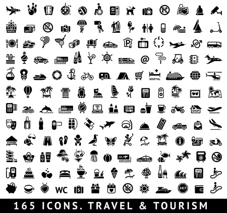 165 icons  Travel and Tourism Vector