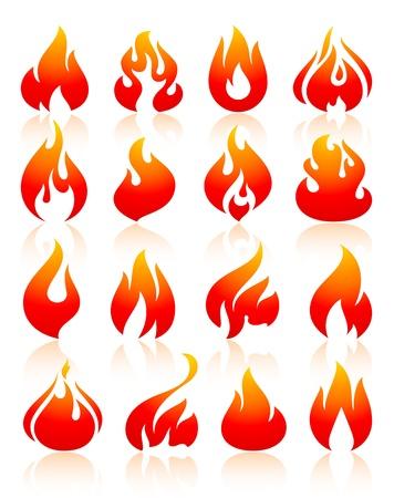 Brand vlammen rood, vastgestelde pictogrammen Stock Illustratie