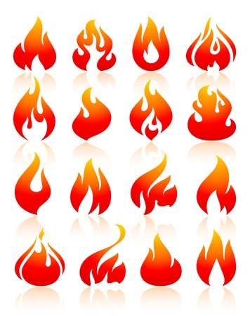 fireballs: Fire flames red, set icons Illustration