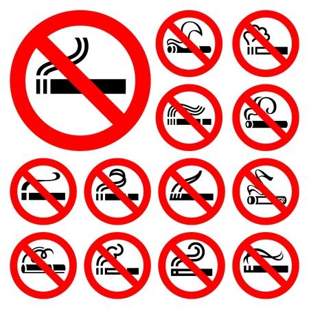 abstain: No smoking - red symbols