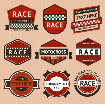 motor racing: Racing insignias set - estilo vintage Vectores