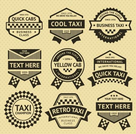 Taxi set insignes, oude stijl Stock Illustratie
