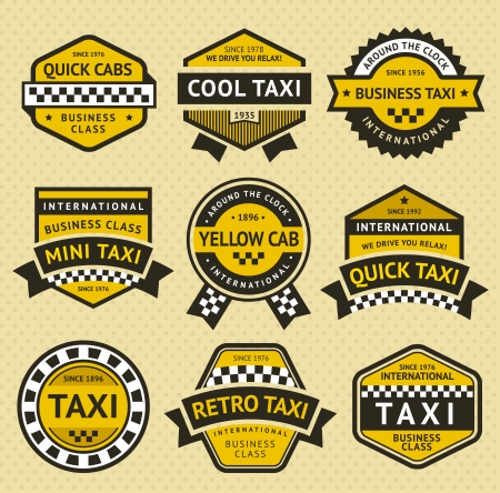 Taxi cab set insignia, vintage style Stock Vector - 19490694