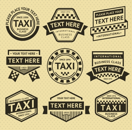 business class travel: Taxi labels set, vintage style Illustration