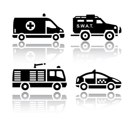camion de bomberos: Conjunto de iconos de transporte - Rescue