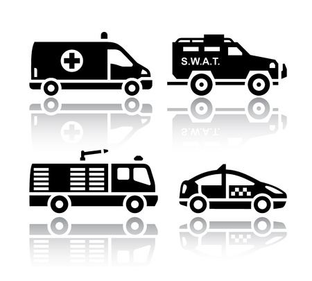 fire truck: Set of transport icons - Rescue