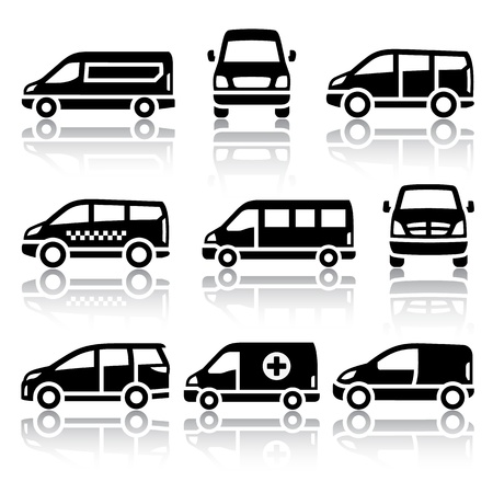 family van: Set of transport icons - Van