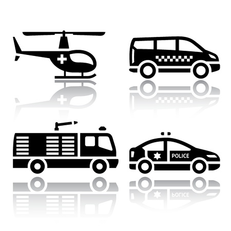 helicopter rescue: Set of transport icons - transport services Illustration